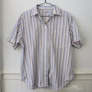 Cabin Creek Striped Button Down Short Sleeve Med.